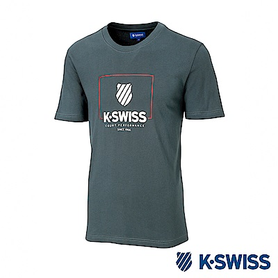 K-SWISS KS Logo W/Frame Tee印花短袖T恤-男-墨綠