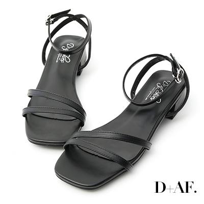 D+AF 神秘色彩.一字斜帶方頭低跟涼鞋*黑