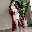 日系小媽咪孕婦裝-簡約格子連帽抽繩長版襯衫外套 (共二色)