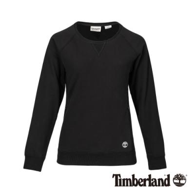 Timberland 女款黑色品牌LOGO圓領大學T|B4810