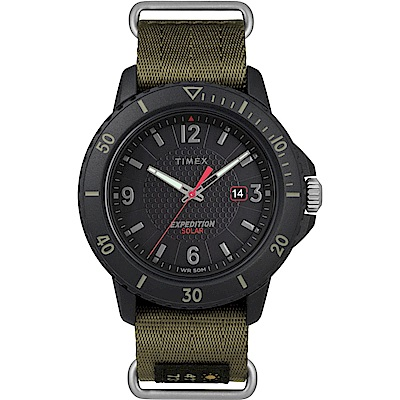 TIMEX 天美時 遠征系列 太陽能探險手錶-黑x綠色錶帶/45mm