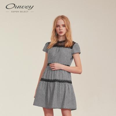 OUWEY歐薇 透膚感黑白格紋A字洋裝(黑)