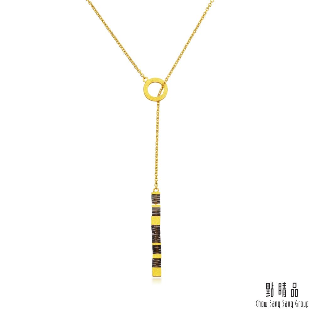 點睛品 G系列 時尚方形幾何瑪瑙純金項鍊Y字鍊