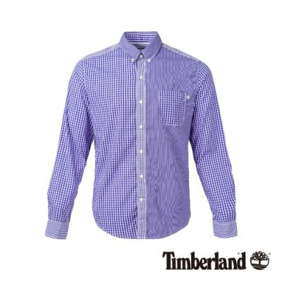 Timberland 男款葡萄紫格子拼接襯衫|A1NNG