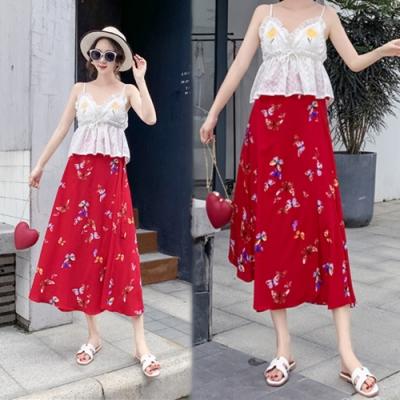 【韓國K.W.】夏氛低調一片式半身裙