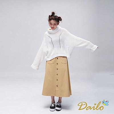 Dailo INLook落肩寬版高領反摺針織毛衣(白)