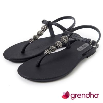 Grendha 金屬球珠T字帶涼鞋-黑色/銅金