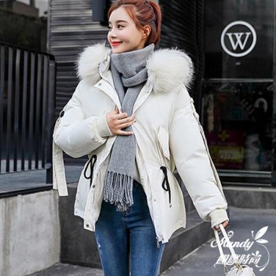 Mandy國際時尚 羽絨棉 冬 韓系寬鬆大毛領顯瘦羽絨棉外套(5色)