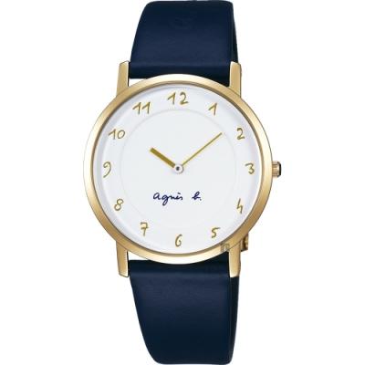 agnes b. 法國時尚簡約手錶(BG4020P1)-白x金框x藍/34mm