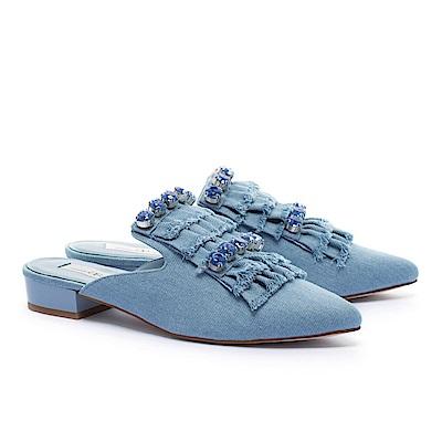 拖鞋 AS 潮流晶鑽抽鬚流蘇造型牛仔布低跟穆勒拖鞋-淺藍