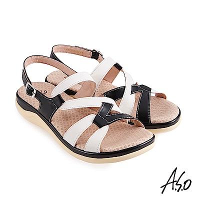 A.S.O 機能休閒 挺麗氣墊牛皮拚色條帶休閒涼鞋-白