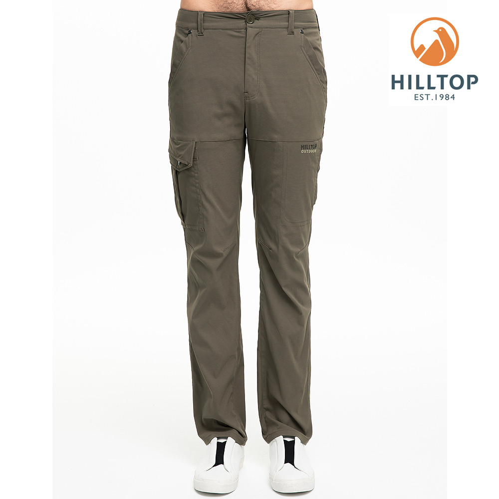 【hilltop山頂鳥】男款超潑水抗UV彈性長褲S07MC2灰綠