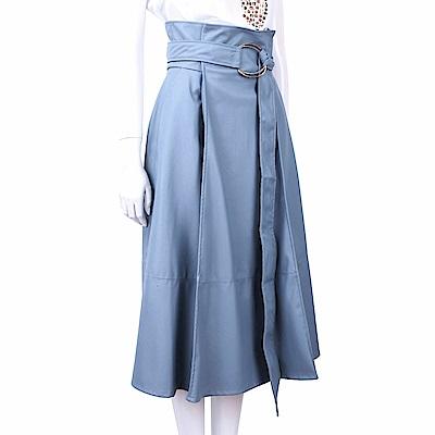 ELISABETTA FRANCHI 高腰金屬環細節水藍色仿皮澎裙
