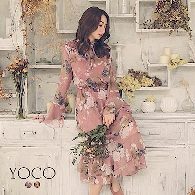 東京著衣-yoco 超仙女神花朵印花喇叭袖縮腰洋裝-S.M.L(共二色)