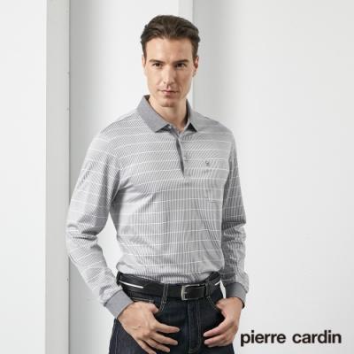 Pierre Cardin皮爾卡登 男裝 印花長袖POLO衫-灰色(5205260-95)
