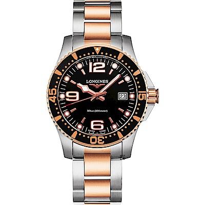 LONGINES 浪琴 征服者300米潛水石英錶-黑x雙色/41mm