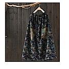 碎花牛仔中長裙毛邊貼布高腰裙-設計所在