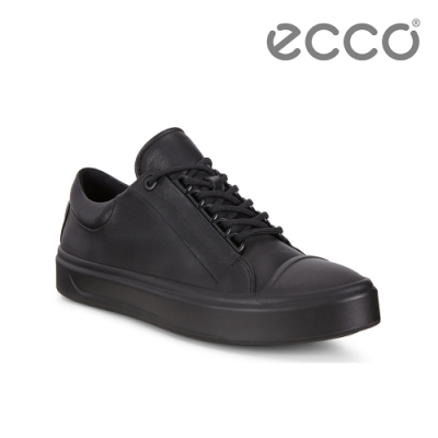 ECCO FLEXURE T-CAP W 輕彈皮革百搭休閒鞋 女-黑
