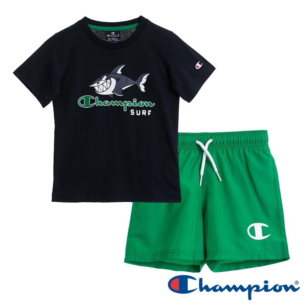 Champion EU童短袖套裝 深藍x綠