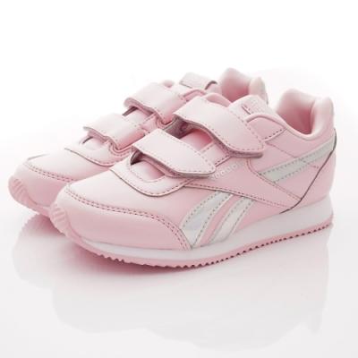 Reebok頂級童鞋 皮質炫銀邊飾運動鞋款 NI013粉(中小童段)