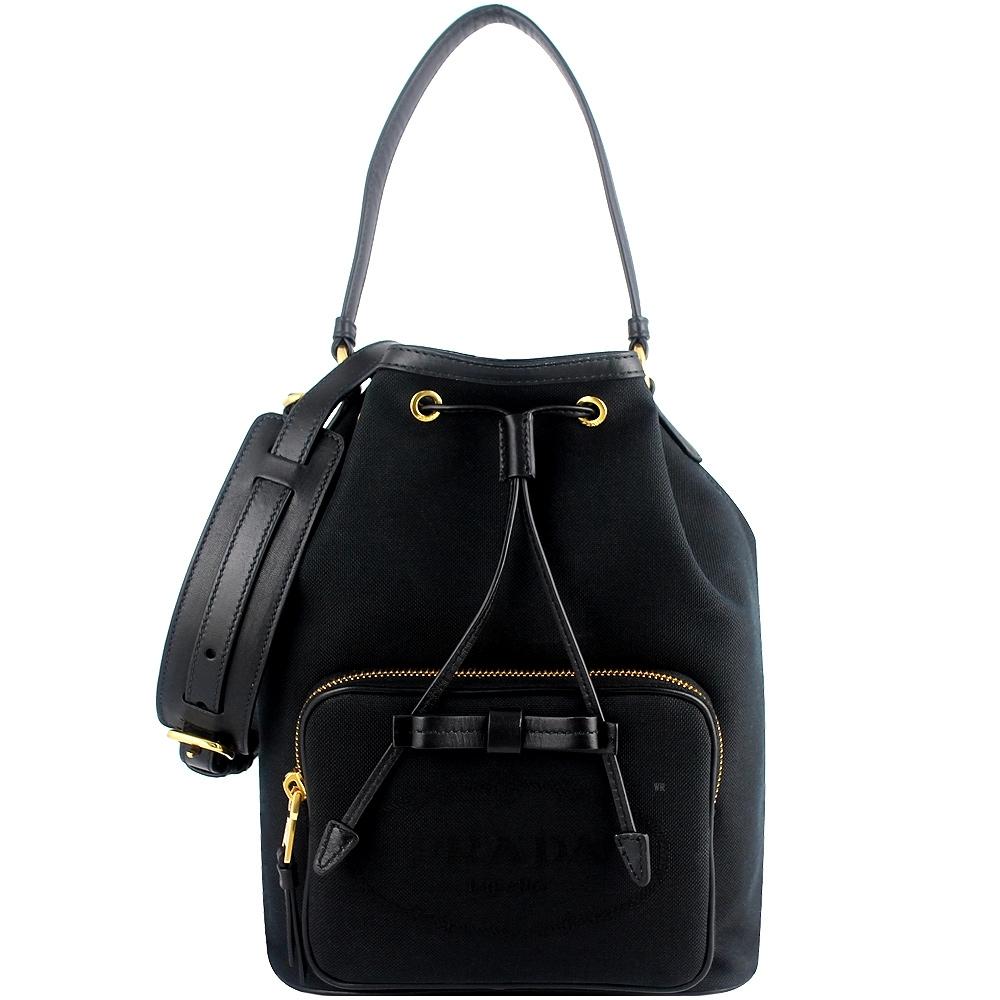 PRADA 黑色刺繡帆布蝴蝶結皮飾邊手提/水桶包(中型)