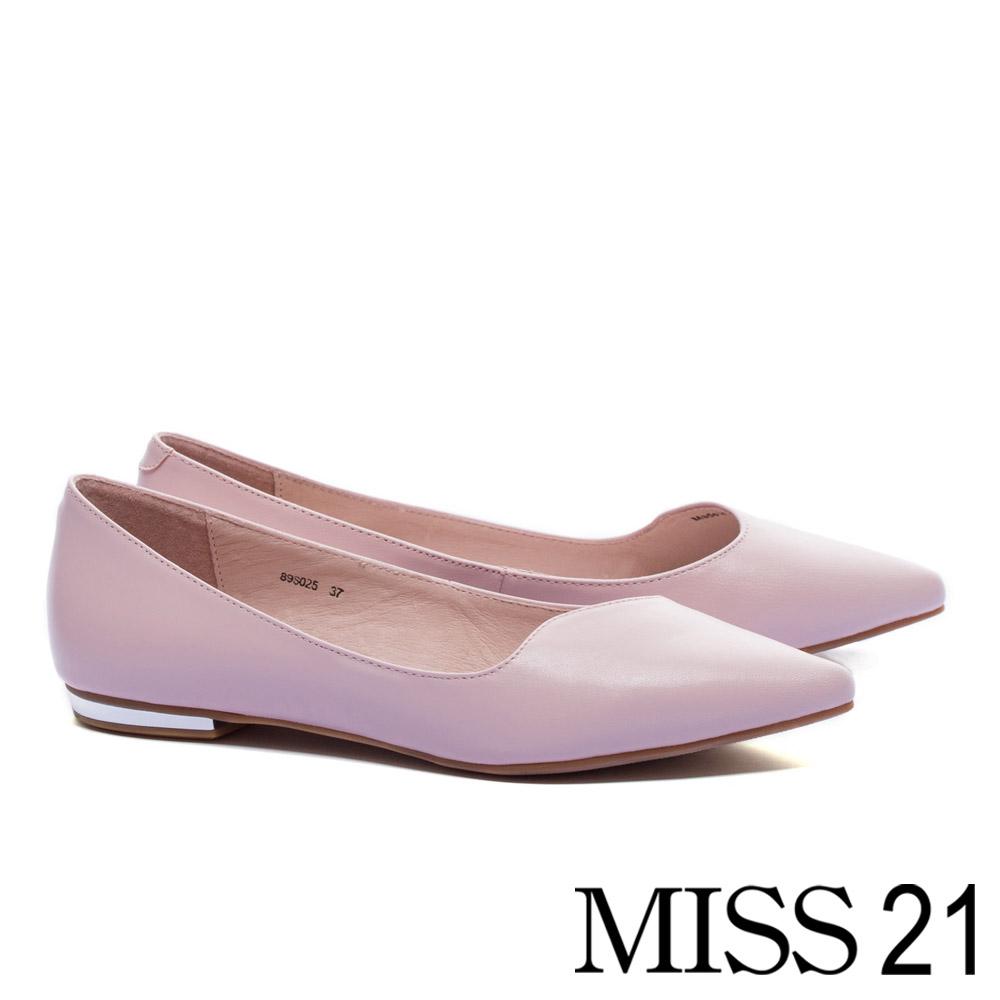 平底鞋 MISS 21 經典優雅剪裁鞋口全真皮尖頭平底鞋-粉
