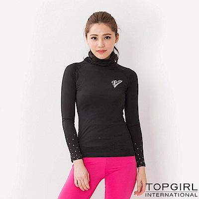 【TOP GIRL】魅力女孩高領長袖上衣 - 黑色