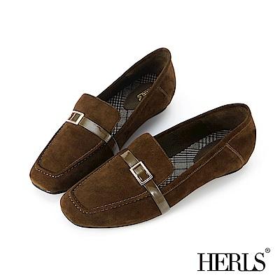 HERLS 全真皮釦環方頭麂皮樂福鞋-墨綠色