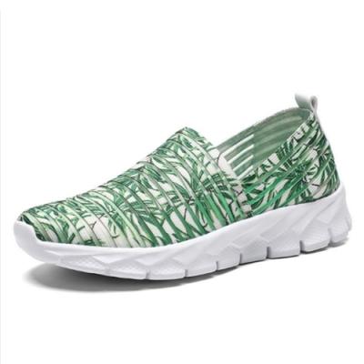 韓國KW美鞋館-清新森林動物紋飛織輕量健走鞋 綠