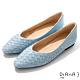 DIANA 1.7公分 莫蘭迪色調水染羊皮編織鞋面方尖頭跟鞋-細膩淑女 –冰糖藍 product thumbnail 1