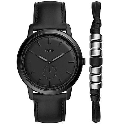 FOSSILMinimalist簡約真皮手錶禮盒套組(FS5500SET)-黑/44mm