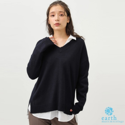 earth music 【SET ITEM】前短後長V領落肩針織衫+簡約襯衫上衣