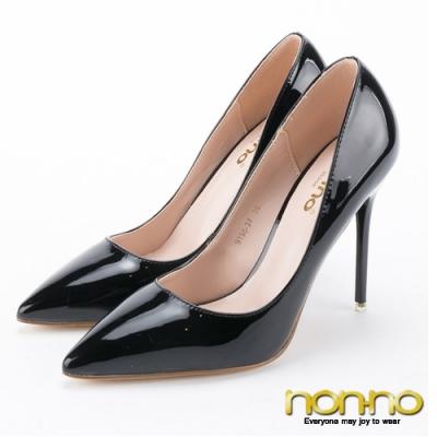 nonno 諾諾鞋面漆皮設計 基本百搭尖頭高跟鞋-黑