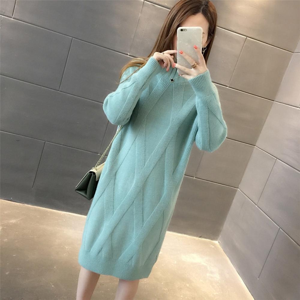 初色  半高領針織連身裙-共5色-(F可選)