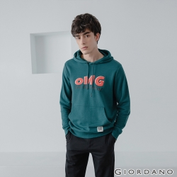 GIORDANO 男裝 Retro Wave復古風連帽T恤-12 孔雀綠