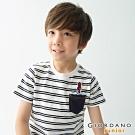 GIORDANO 童裝條紋小火箭刺繡口袋T恤-81 低調白/標誌海軍藍