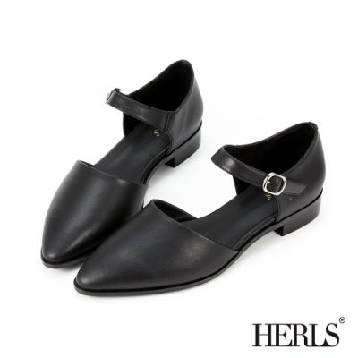 HERLS低跟鞋-全真皮瑪莉珍尖頭低跟鞋-黑色