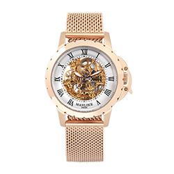 Manlike曼莉萊克羅馬鏤空雕花限量機械錶 玫瑰金 白面 米蘭帶