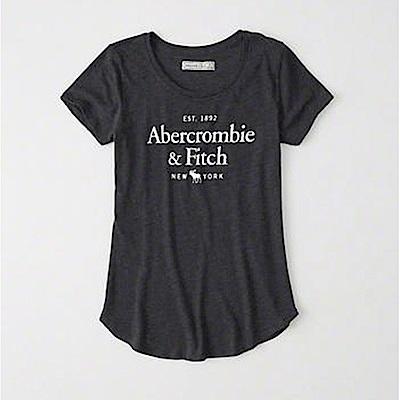 麋鹿 AF A&F 經典印刷麋鹿文字設計短袖T恤(女)-黑色