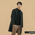 H:CONNECT 韓國品牌 男裝 - 格紋長版羊毛大衣  - 黑
