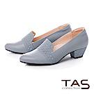 TAS 幾何沖孔素面拼接樂福粗跟鞋-靜謐藍