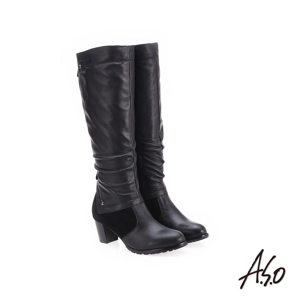 A.S.O 簡約風格 抓皺皮革長靴 黑