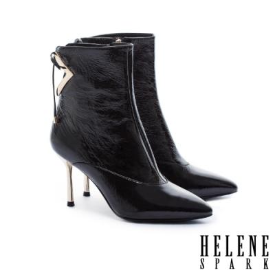 短靴 HELENE SPARK 摩登時尚剪裁金屬釦尖頭牛皮高跟短靴-黑