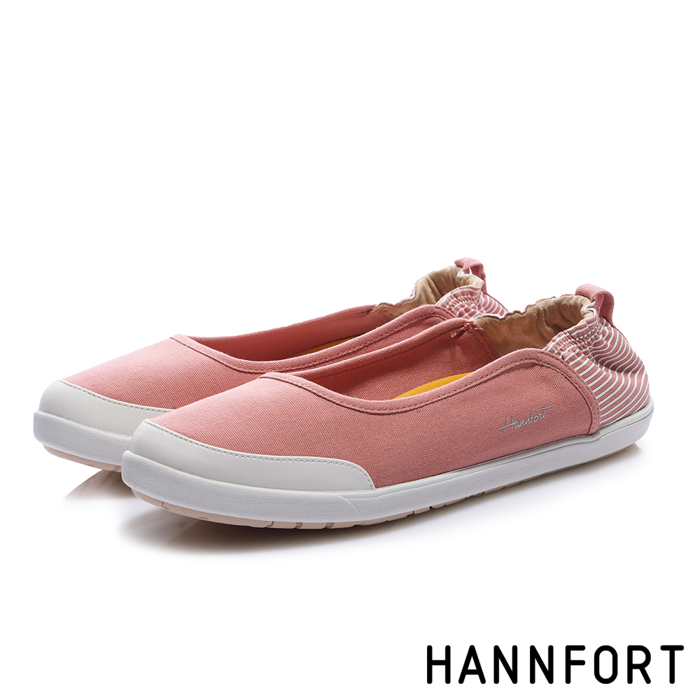 HANNFORT CALIFORNIA 海軍帆布淺口休閒鞋-女-甜美粉