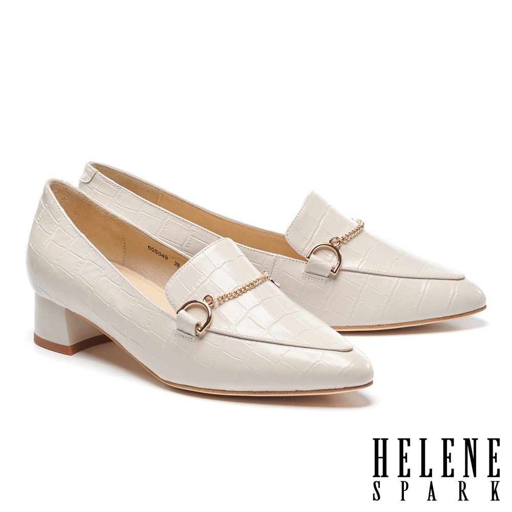 低跟鞋 HELENE SPARK 復古知性鍊條全真皮尖頭低跟鞋-米