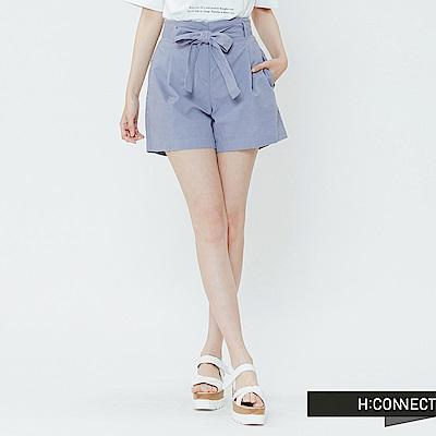 H:CONNECT 韓國品牌 女裝-綁結打摺棉麻短褲-藍