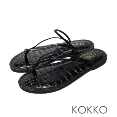 KOKKO渡假風鱷魚壓紋超細帶牛皮夾腳涼拖鞋經典黑