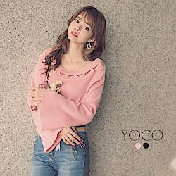 東京著衣-yoco 女神圓領簍空針織喇叭袖上衣-S.M.L(共二色)