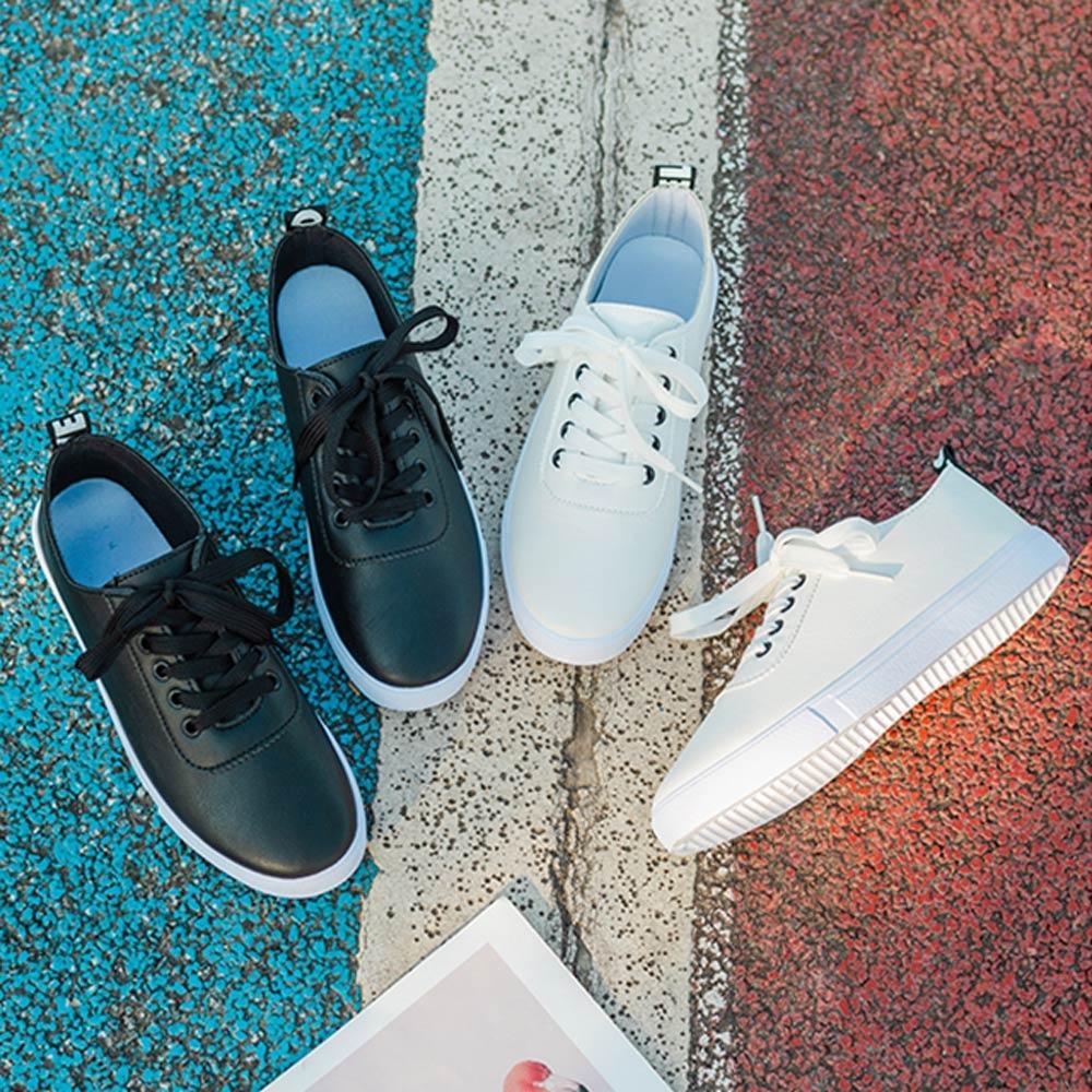 韓國KW美鞋館-獨賣簡約厚底柔軟舒小白鞋(輕量 運動鞋 休閒鞋)(共2色) (白色)