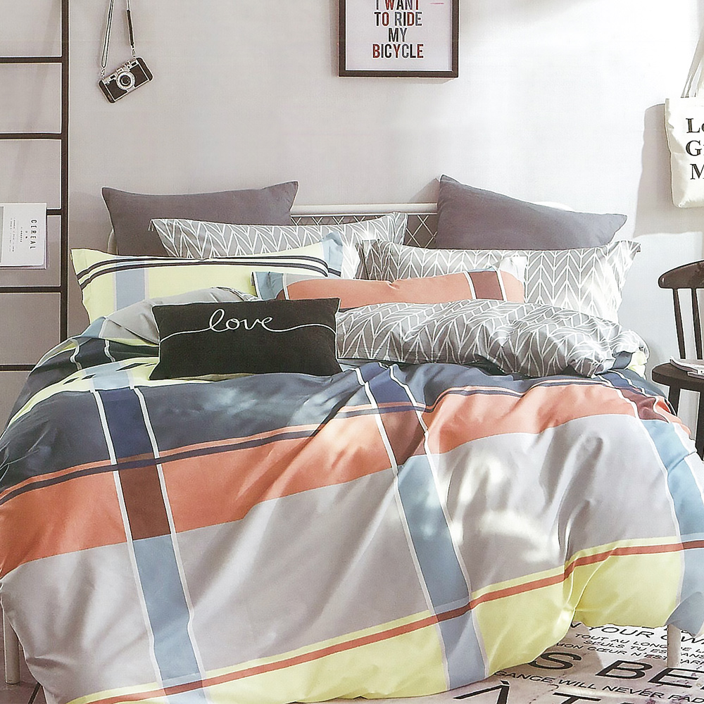 LAMINA 英倫生活 精梳棉四件式兩用被套床包組(雙人)